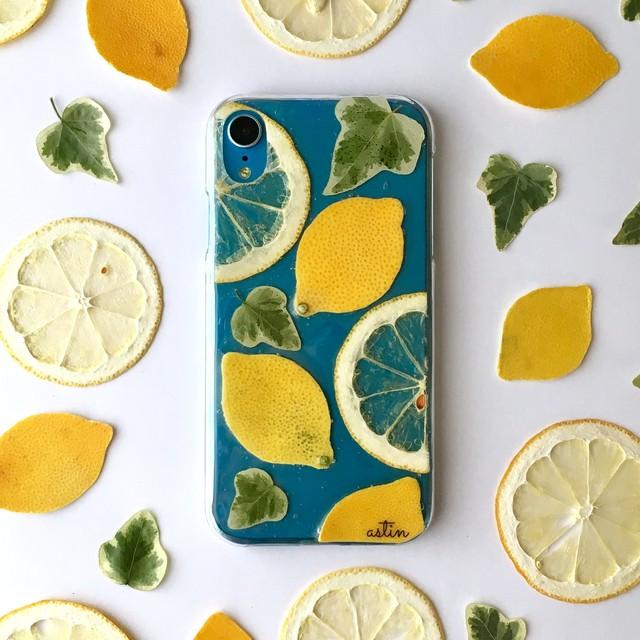 【iPhoneXRブルー】Lemon&レモン 押し花スマホケース