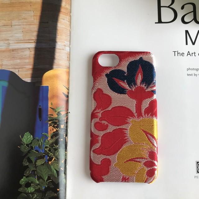 【KIMONO】アンティーク帯のiPhoneケース 青い花刺繍