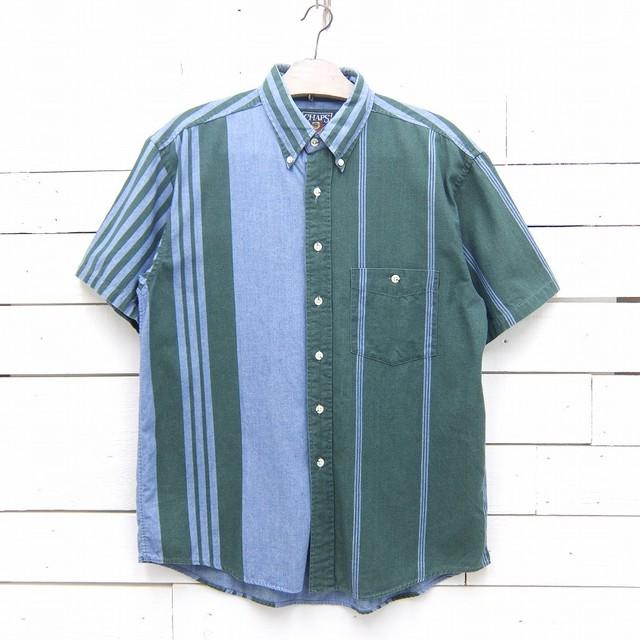 CHAPS Ralph Lauren チャップス ラルフローレン ストライプ柄 半袖 ボタンダウンシャツ メンズ Mサイズ