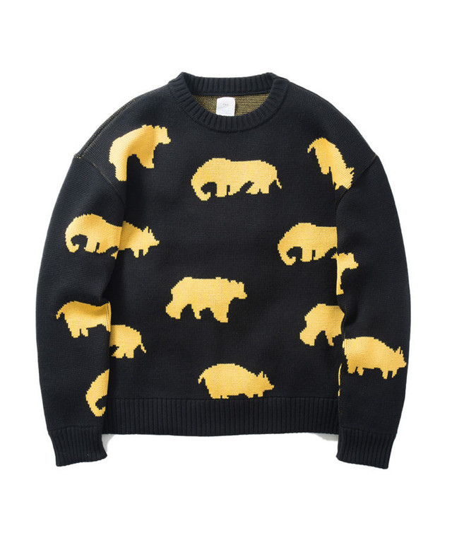 Name.【ネーム】ANIMAL PATTERNED CREW NECK SWEATER
