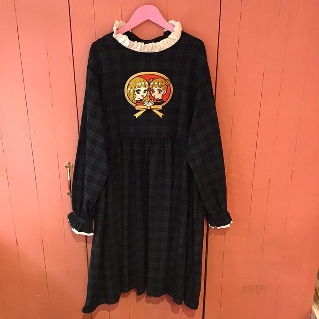 刺繍ワンピース(女の子/緑チェック/長袖)