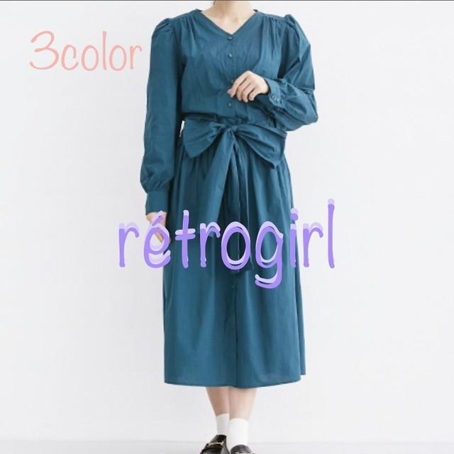 〜rétro girl 〜 3color レトロガール リボン パフスリーブ ワンピース トレンド