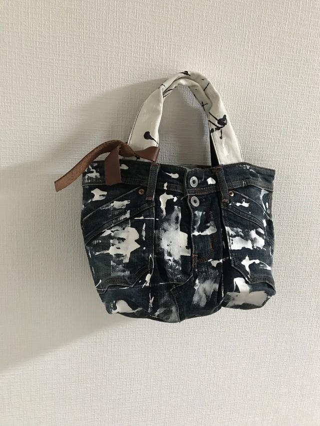paint denim bag*washable. (朱赤の着物地 絞り柄)