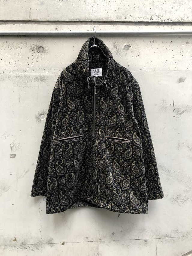 『RICE NINE TEN』paisley zip pullover / BLACK