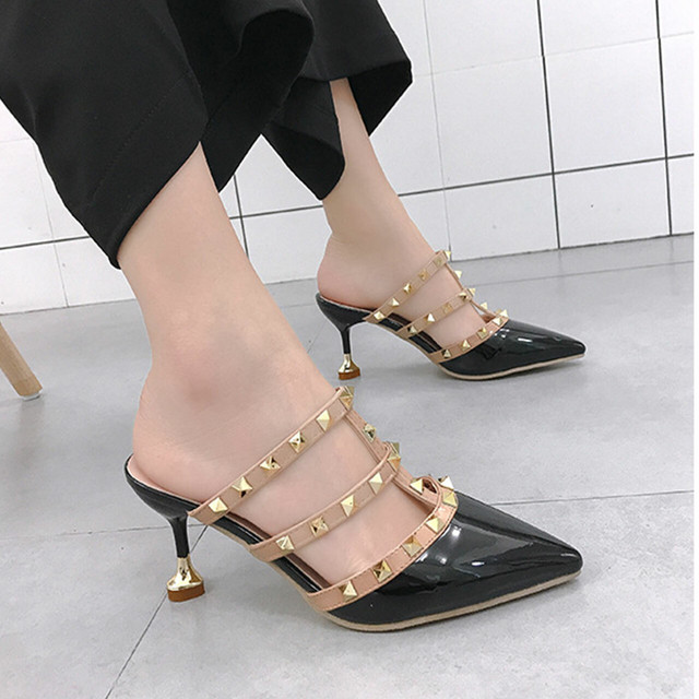 【shoes】サンダルレディースピンヒール履き心地よいリベットポインテッドトゥ