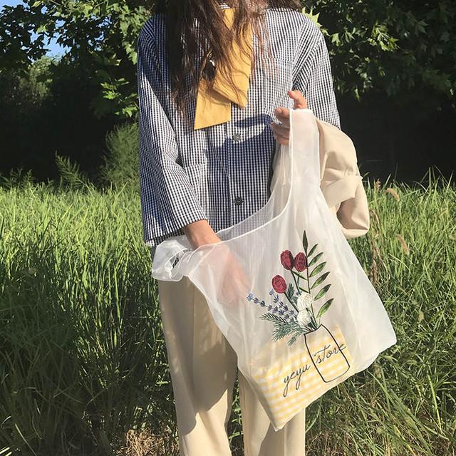 【送料無料】エコ映えバッグ♡バッグ シースルー 刺繍 可愛い 映え エコ サブバッグ お買い物 学生