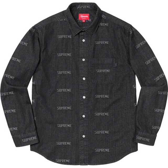Supreme Logo Denim Shirt Black