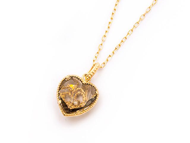 Sweet Heart 宝石質アメジスト K18 ネックレス 42cmまで調整可 スライドボールつき