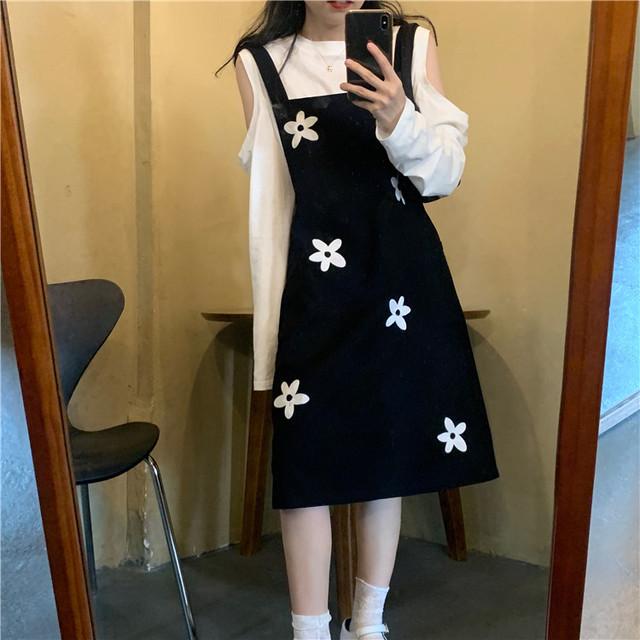 【セット】「単品注文」ファッション長袖ラウンドネックTシャツ+ワンピース40407144