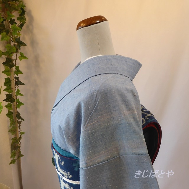 大島紬 深い青に木の実の小紋 袷