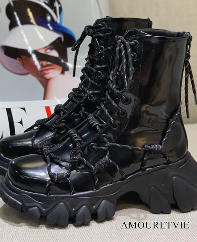 ブーツ 革 レザー ショートブーツ パテント アンクルブーツ レースアップ 黒 ブラック モード系 ヴィジュアル系 1081
