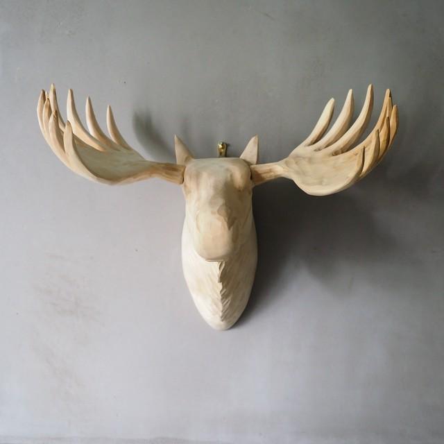 Wood Animal Head Moose