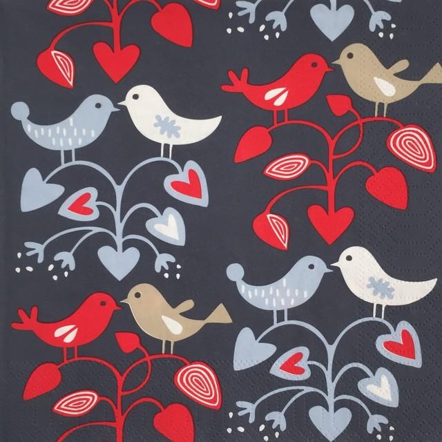 【KLIPPAN】バラ売り1枚 ランチサイズ ペーパーナプキン LOVEBIRDS ネイビー