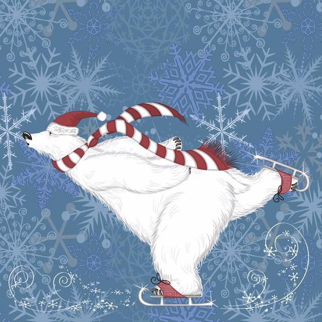 2021秋冬【Paper+Design】バラ売り2枚 ランチサイズ ペーパーナプキン Polarbear skate ブルー