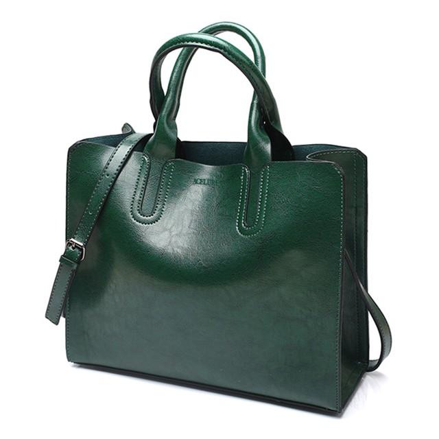 レザーハンドバッグビッグ女性バッグ高品質カジュアル女性バッグトランクトートスペインブランドショルダーバッグ green