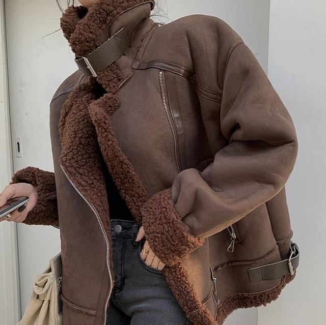 【翌日発送】One color faux mouton boa coatLD0300