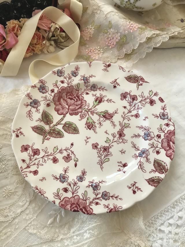 イングランド 薔薇プリント皿 在庫2