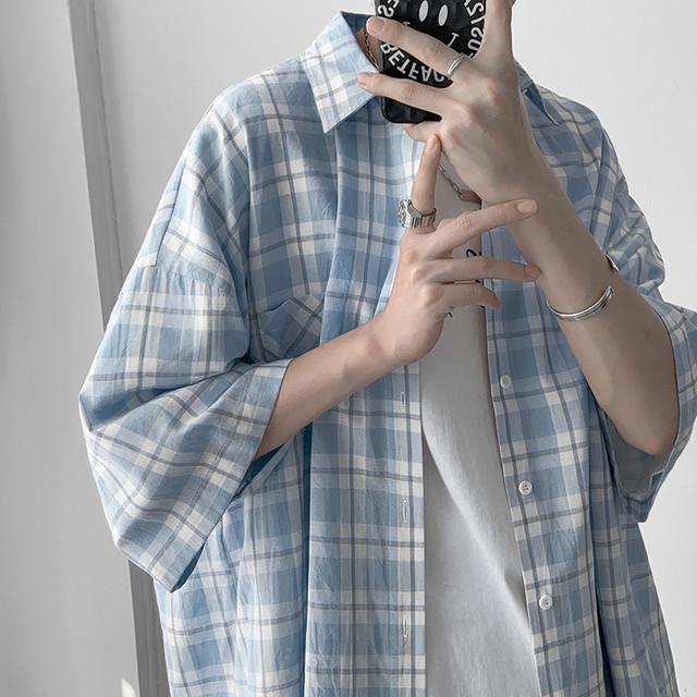 トーンオントーンチェックシャツ