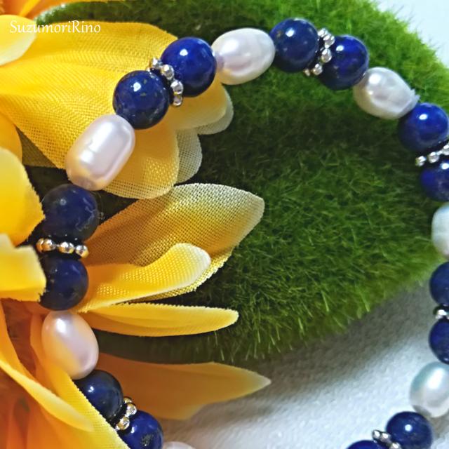 【ブレスレット】天然石デザインブレスレット-ローズクォーツ・シェルパール-(bracelet-018)