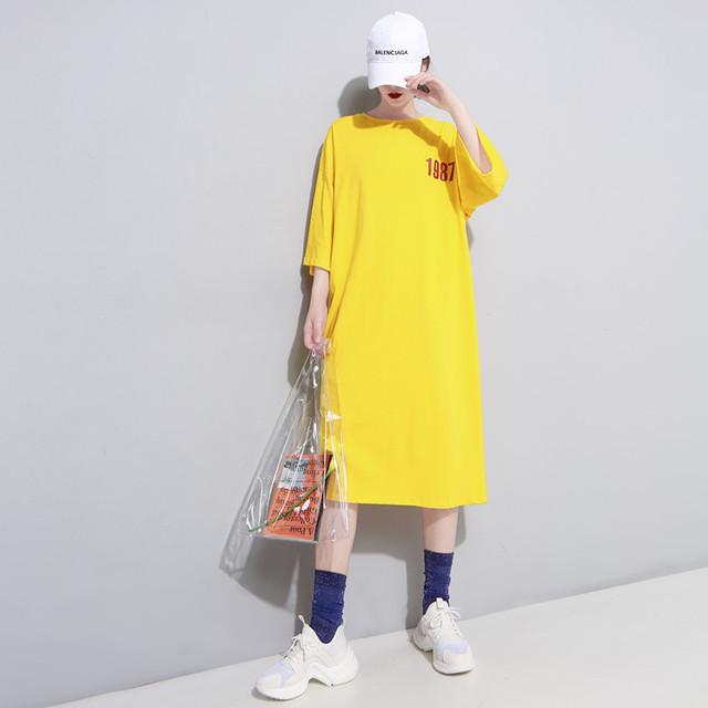 「ワンピース 」ファッションアルファベットAラインラウンドネック17375437