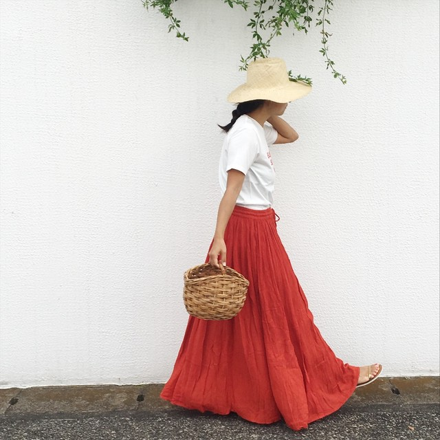 India Cotton Skirt Red