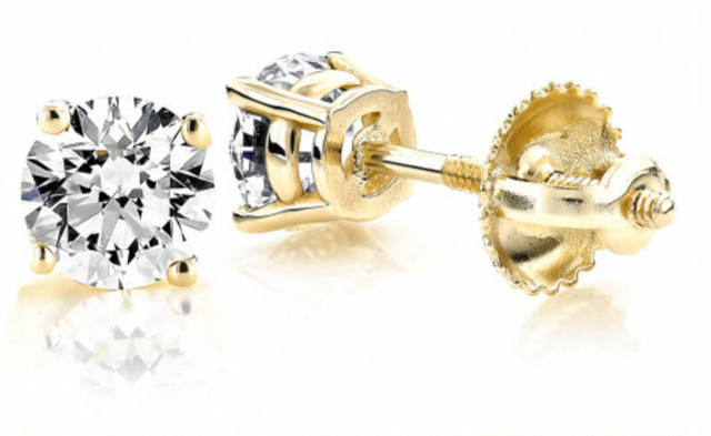14K GOLD DIAMOND STUD EARRINGS ROUND DIAMONDS 0.5CT
