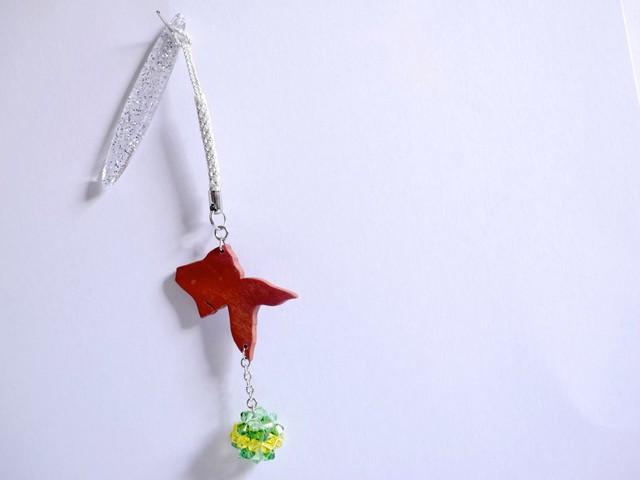 【Y-04】木製金魚の帯飾り《ゆらゆら金魚/菜の花色×常磐色×淡萌黄》