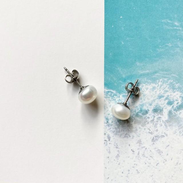 【再販】びわ湖産の真珠 琵琶パール スタッドピアス