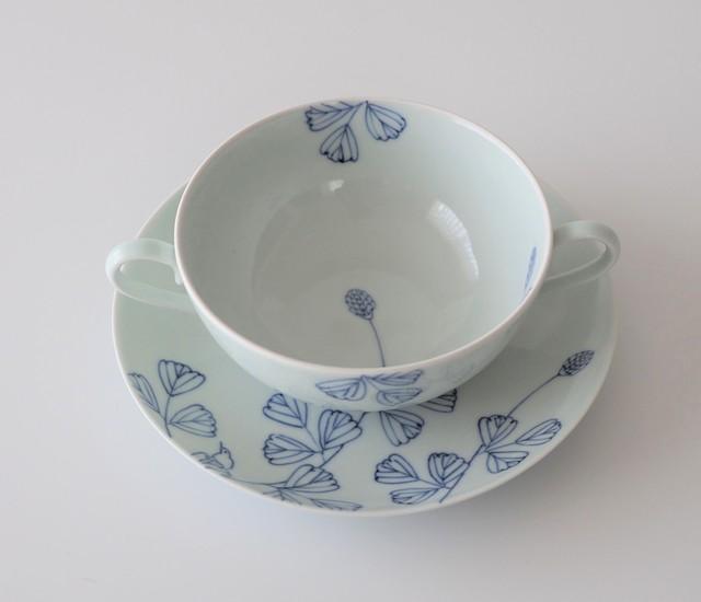 210-C ボタニカル・シリ ーズ 両耳付きスープ碗皿 野いちご