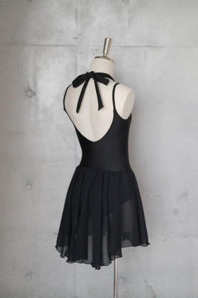 ジュニアサイズ:スカート付きリボンキャミソール バレエレオタード