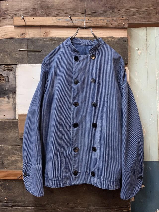1930-40's french work jacket 'indigo stripe' deadstock