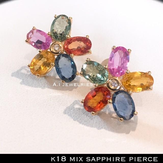 ピアス 18金 サファイヤ k18 ミックス サファイヤ ピアス カラフル   /   k18 mix sapphire pierce