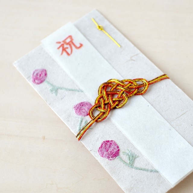 刺繍花入り和紙祝儀袋 ラナンキュラス 「幸福」