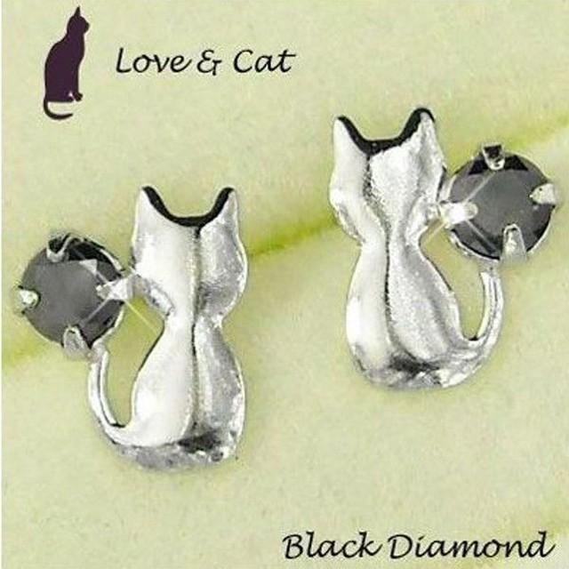 ねこ ピアス ブラック ダイヤモンド 一粒 プラチナ900 猫