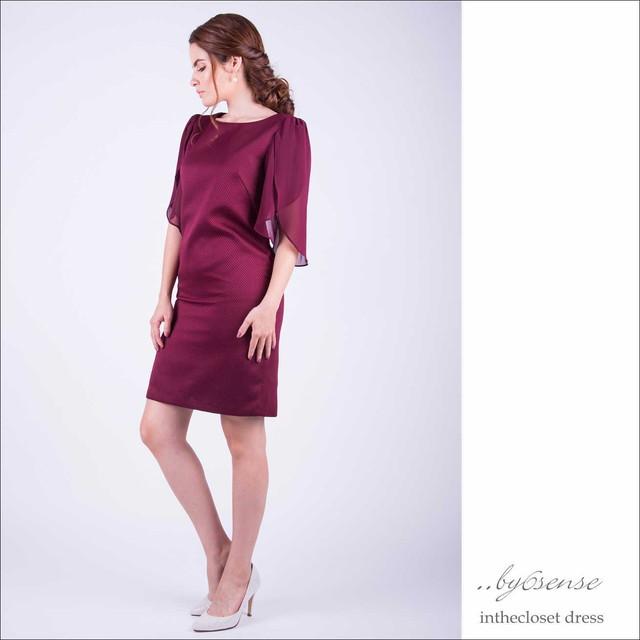 カットジャガード・シフォンスリーブ ワンピース・ドレス S~XLサイズ