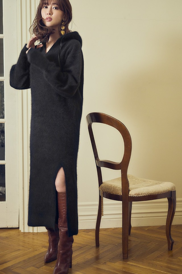 Relax Hooded Knit Dress