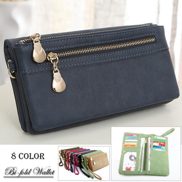 ストラップを外してクラッチバッグとしてもOK! 長財布 レディース 二つ折り財布 小銭入れあり ロングウォレット 多機能
