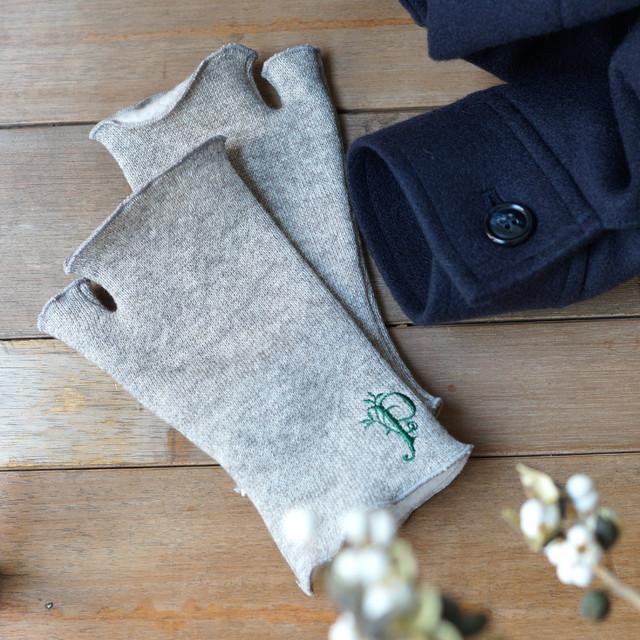 オーガニックコットン&ヤクウール 裏起毛フィンガーレスグローブ 指なし手袋 *プラネード