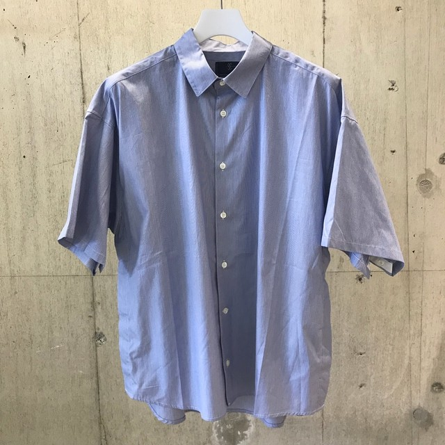 meanswhile Pinstripe Popper S.S. Shirt/NAVY