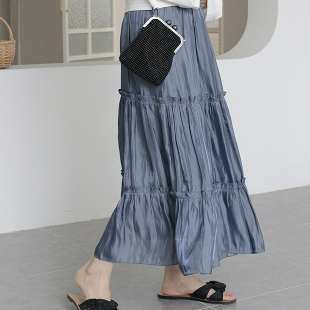 【comingsoon】2段フリルティアード シフォンロングスカート V39-54