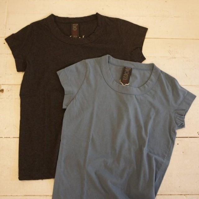 homspun(ホームスパン) 天竺フレンチスリーブTシャツ サックス/チャコールグレー