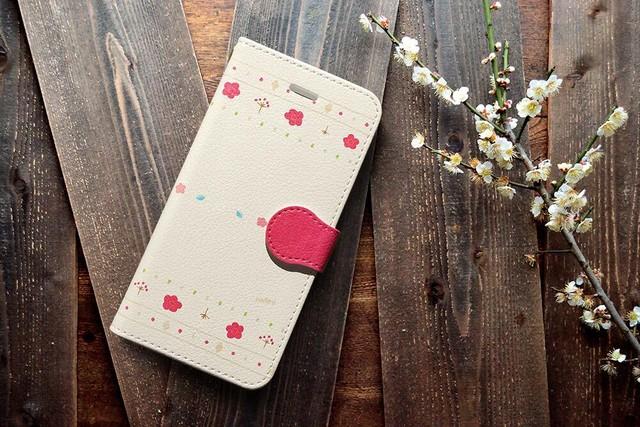 【送料無料】ほのか 〜梅〜 iPhone&Android手帳型ケース ★受注制作★