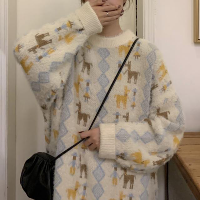 セーター 厚手 ニット ラウンドネック モヘア ゆったり レトロ オーバーサイズ  秋冬物 防寒 あたたか 全2色 おすすめ