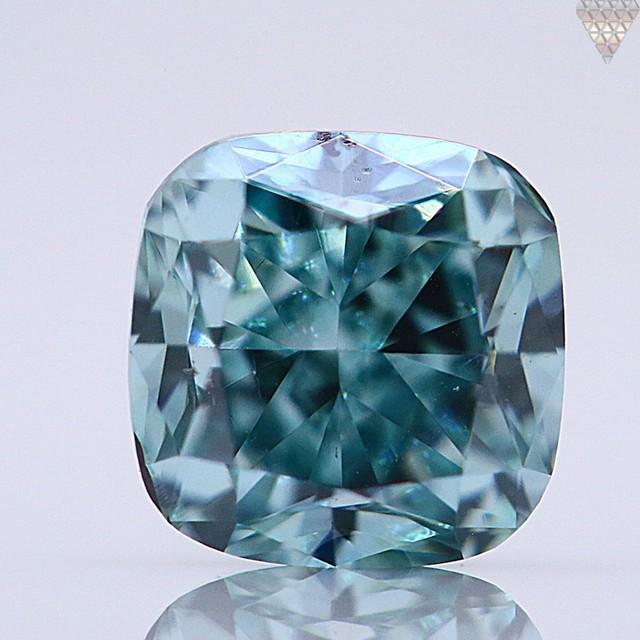 0.14 ct FANCY VIVID BLUE-GREEN  CUSHION GIA 天然  ダイヤモンド ルース
