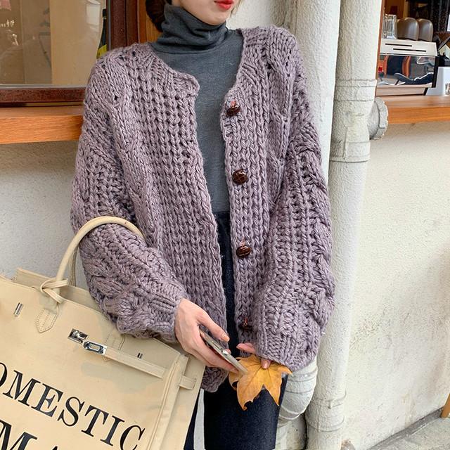 ざっくり ゆる編み ニットカーディガン ルーズ ラウンドネック ニットジャケット ナチュラル かわいい アウター 秋冬 韓国 TP2518