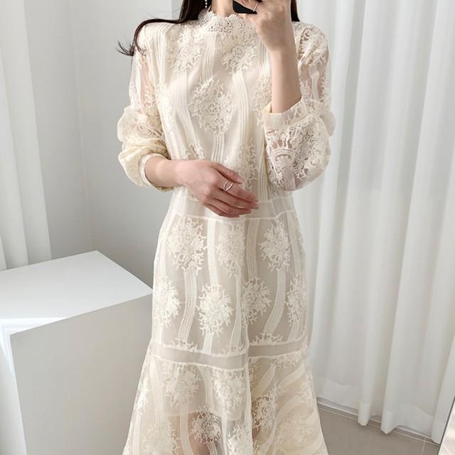 【dress】フェアリー優しい感じレースフィッシュテールワンピース