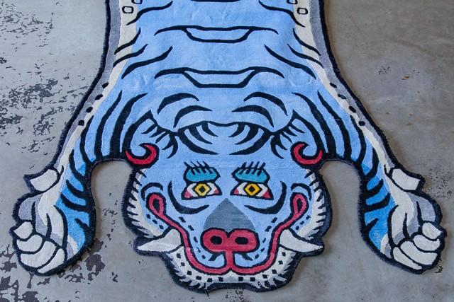 Tibetan Tiger Rug 《Lサイズ•シルク•オリジナル•ブルーバージョン025》チベタンタイガーラグ