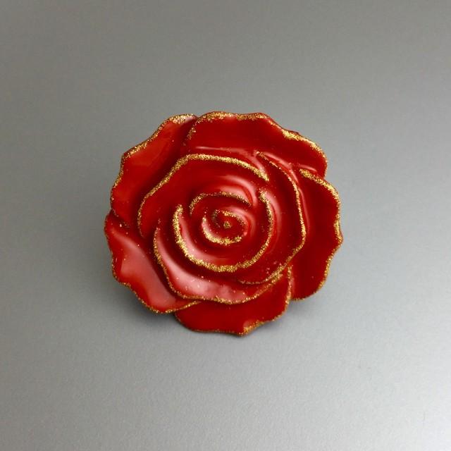 漆ピンブローチ(赤・薔薇)
