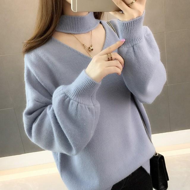 【トップス】人気韓国系プルオーバー透かし彫りショート丈ニットセーター34366577