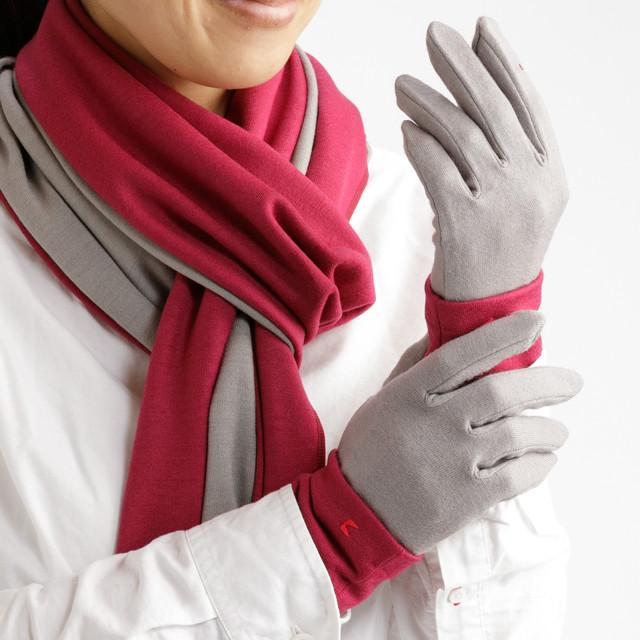 【セット販売】マゼンダ × サンドベージュ(お得な3点セット) ロングマフラーと手袋にリストマフラーをプラス